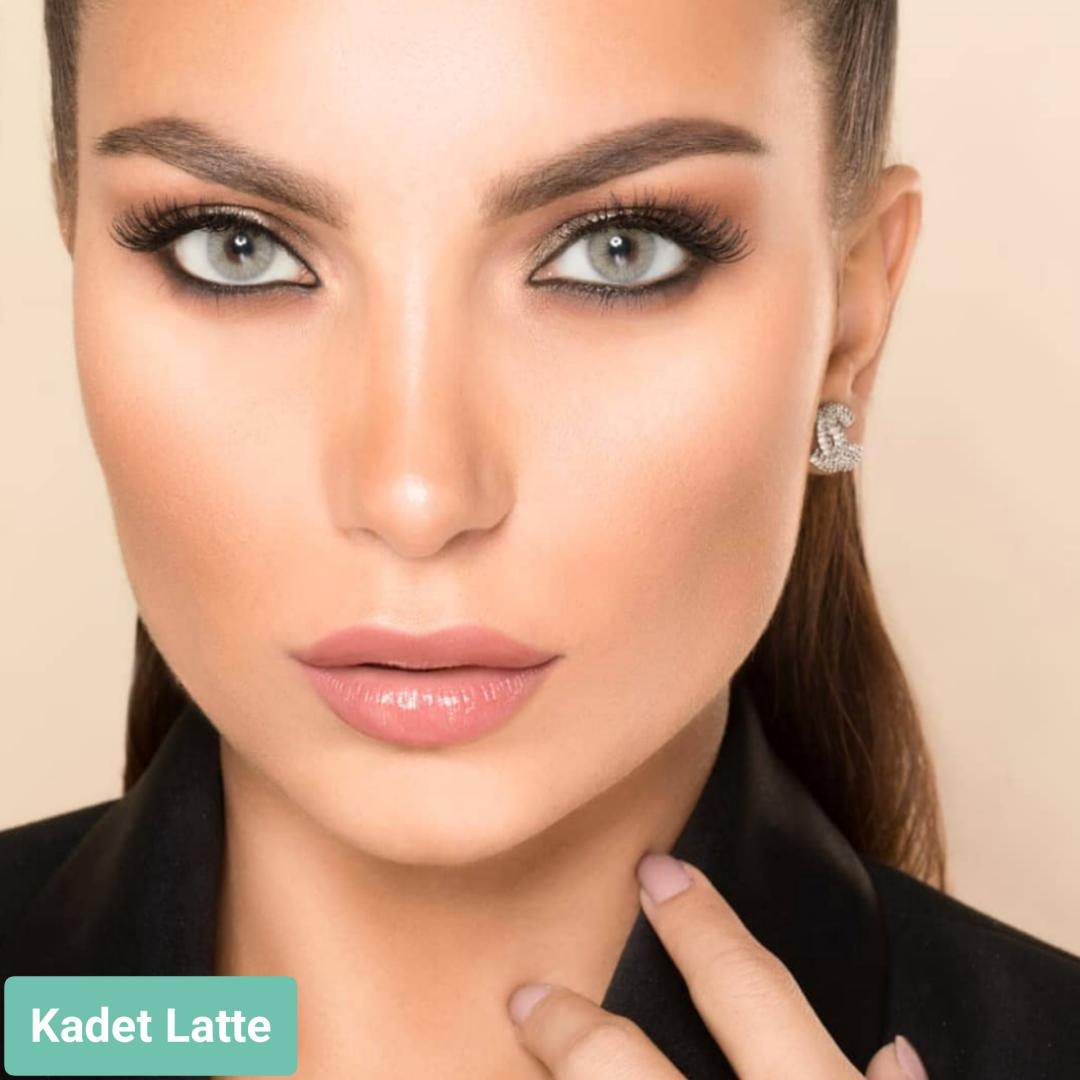 فروش لنز Kadet Latte (طوسی سبز بدون دور)  برند لورنس  بهمراه قیمت امروز لنز رنگی  و قیمت امروز لنز طبی