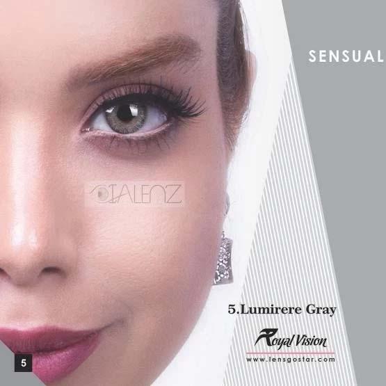 فروش لنز Lumirere Gray (طوسی سبز دوردار)  برند رویال ویژن بهمراه قیمت امروز لنز رنگی و قیمت امروز لنز طبی