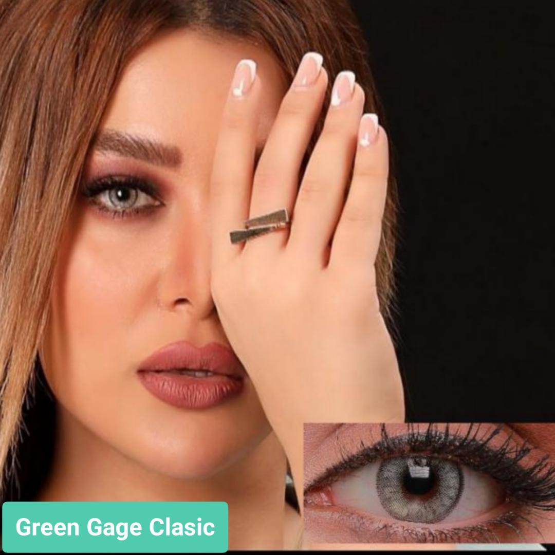 فروش لنز Green Gage Classic (طوسی سبز دوردار)  برند جمستون لاکچری  بهمراه قیمت امروز لنز رنگی و قیمت امروز لنز طبی