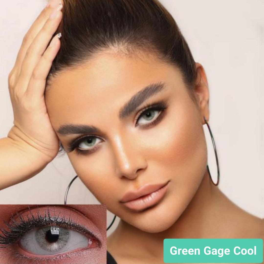 فروش لنز Green Gage Cool (طوسی سبز بدون دور)  برند جمستون لاکچری  بهمراه قیمت امروز لنز رنگی و قیمت امروز لنز طبی