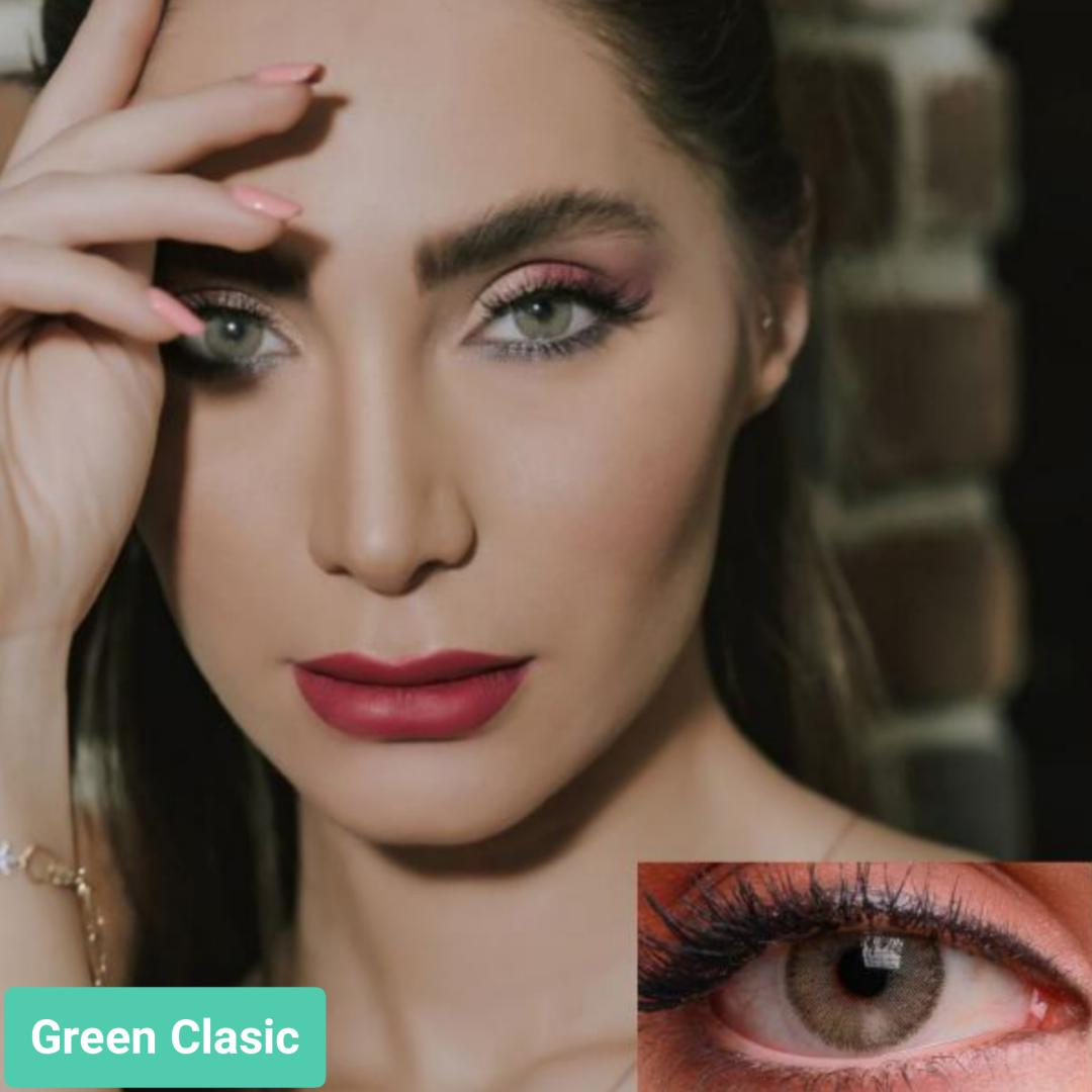 فروش لنز Green Classic (سبز طوسی دوردار)  برند جمستون لاکچری  بهمراه قیمت امروز لنز رنگی و قیمت امروز لنز طبی