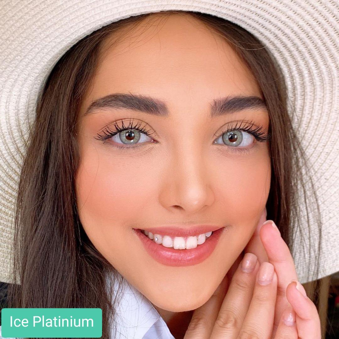 فروش Ice Platinium (طوسی ته مایه سبز دوردار)   برند کریستال  بهمراه قیمت امروز لنز رنگی و قیمت امروز لنز طبی