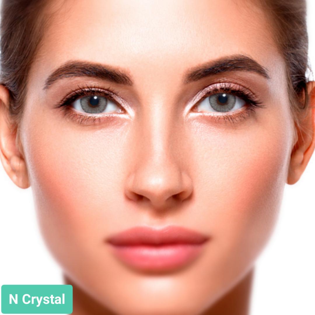 فروش N Cristal (طوسی ته مایه سبز دوردار)  برند سولوتیکا بهمراه قیمت امروز لنز رنگی و قیمت امروز لنز طبی