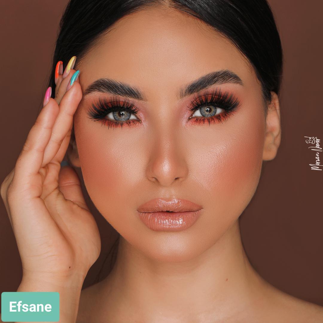 فروش لنز Efsane2 (میکس طوسی سبز آبی دوردار)  برند هیپنوس بهمراه قیمت امروز لنز رنگی  و قیمت امروز لنز طبی