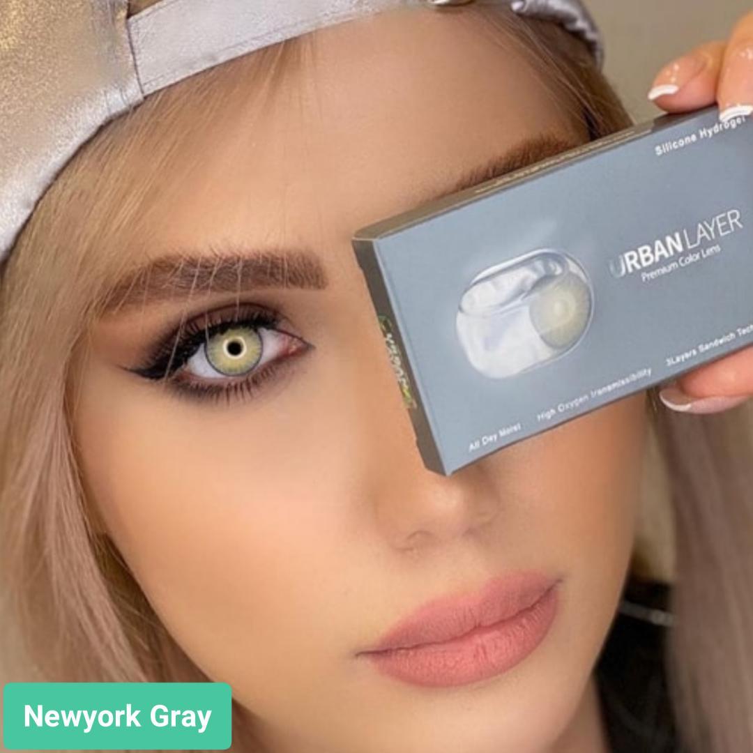 فروش لنزNewyork Gray (طوسی سبز روشن با دورخط)برند اوربان لایر بهمراه قیمت امروز لنز رنگی و قیمت امروز لنز طبی