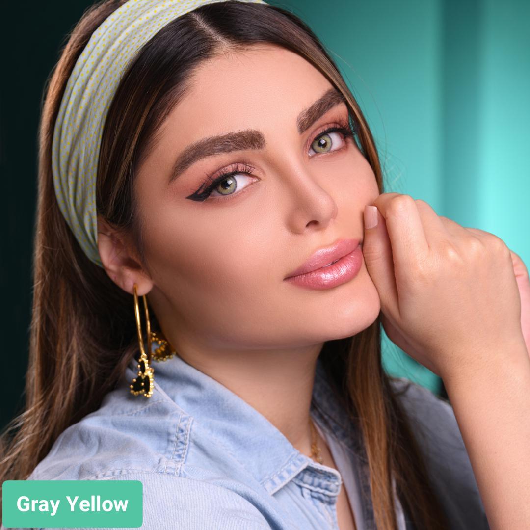 فروش لنز گری یلو (طوسی سبز دوردار) برندگلوریا بهمراه قیمت امروز لنز رنگی و قیمت امروز لنز طبی