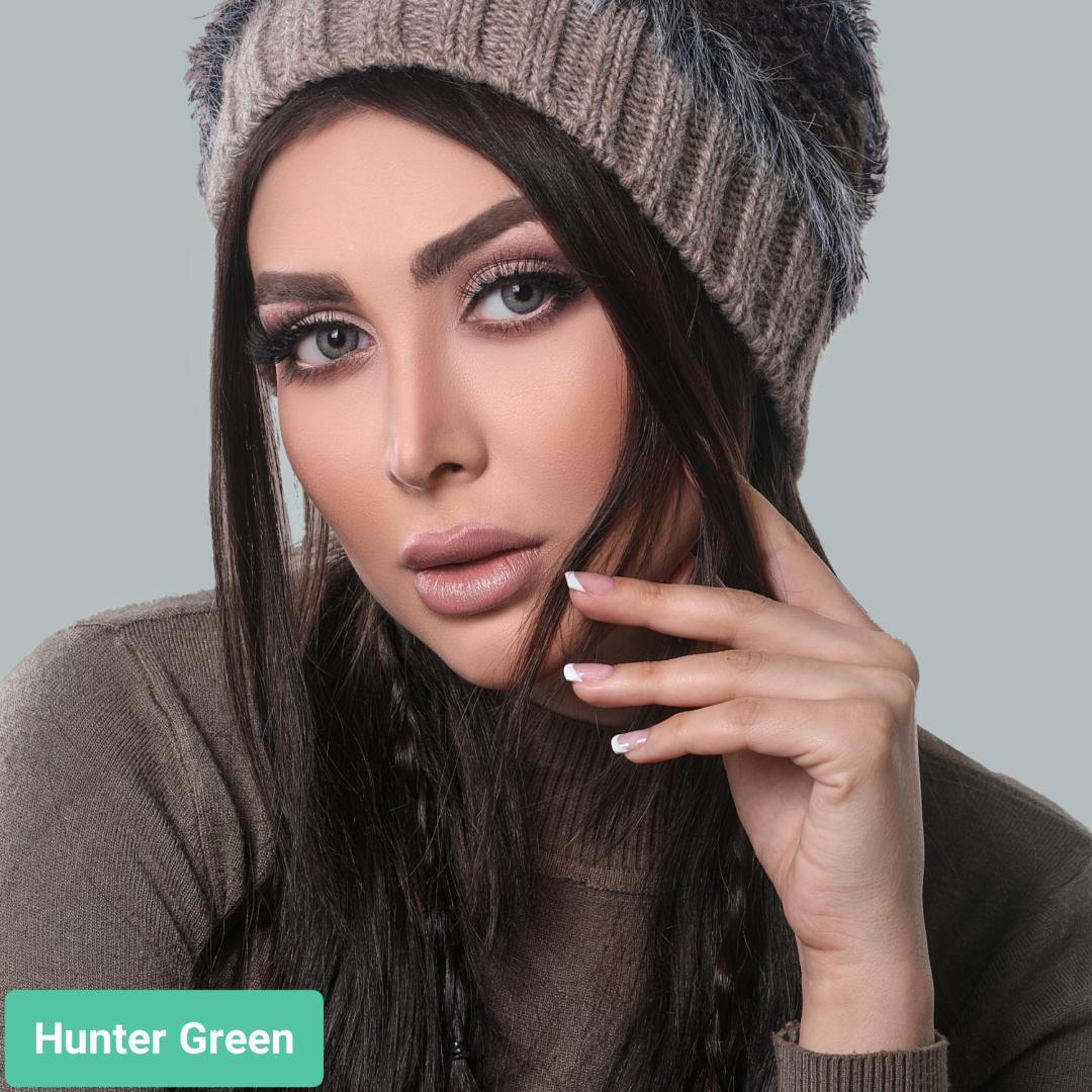 فروش لنز هانتر گرین (طوسی سبز آبی دوردار) برندگلوریا بهمراه قیمت امروز لنز رنگی و قیمت امروز لنز طبی