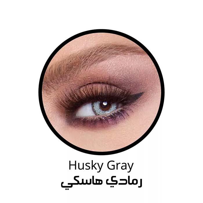 فروش لنزHusky Gray (طوسی سبز دوردار) برند بلا  بهمراه قیمت امروز لنز رنگی  و قیمت امروز لنز طبی