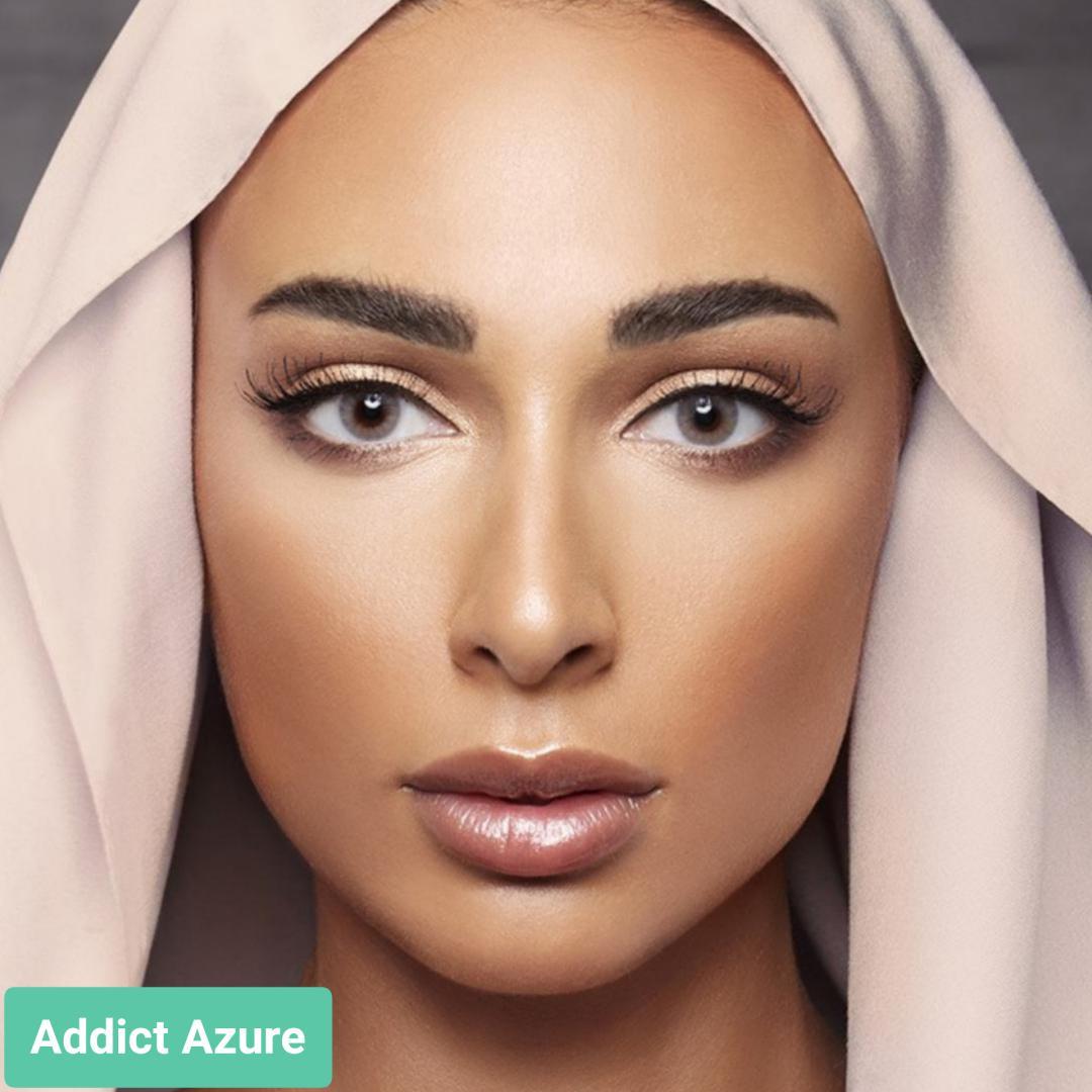 فروش لنز Addict Azure (طوسی خاکی ته مایه سبز بدون دور)  برند آنستازیا بهمراه قیمت امروز لنز رنگی  و قیمت امروز لنز طبی