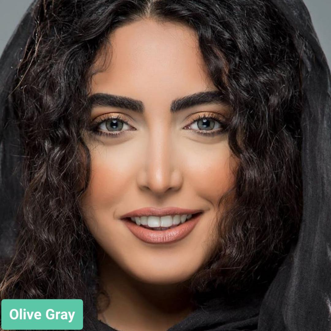 فروش لنز Olive Gray (طوسی عسلی دوردار)  برند استلاکالرز بهمراه قیمت امروز لنز رنگی  و قیمت امروز لنز طبی