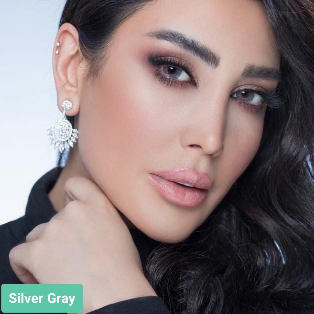 فروش لنز Silver Gray (طوسی عسلی دوردار)  برند استلاکالرز بهمراه قیمت امروز لنز رنگی  و قیمت امروز لنز طبی