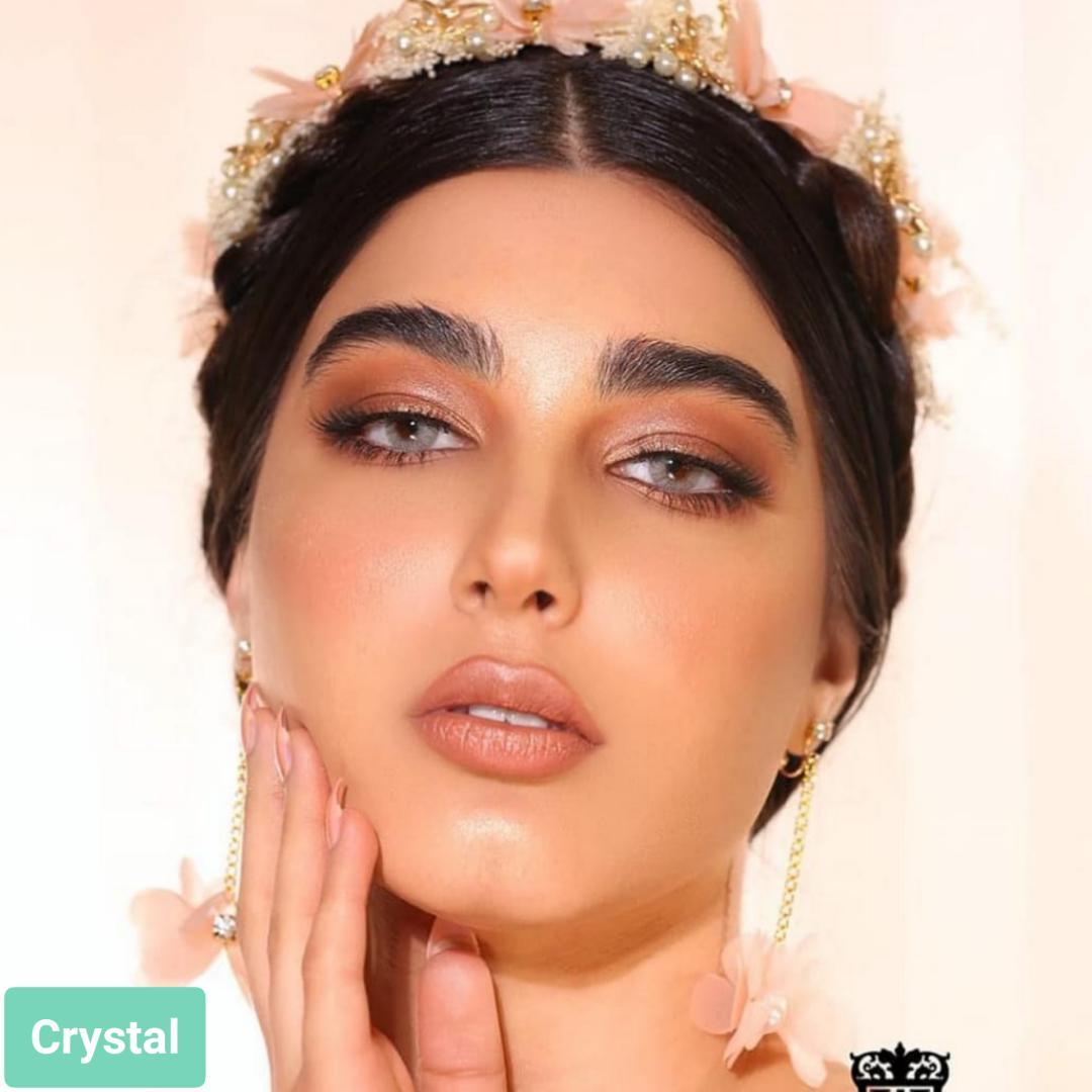 فروش لنز Crystal (طوسی ته مایه سبز بدون دور)  برند لومینوس بهمراه قیمت امروز لنز رنگی  و قیمت امروز لنز طبی