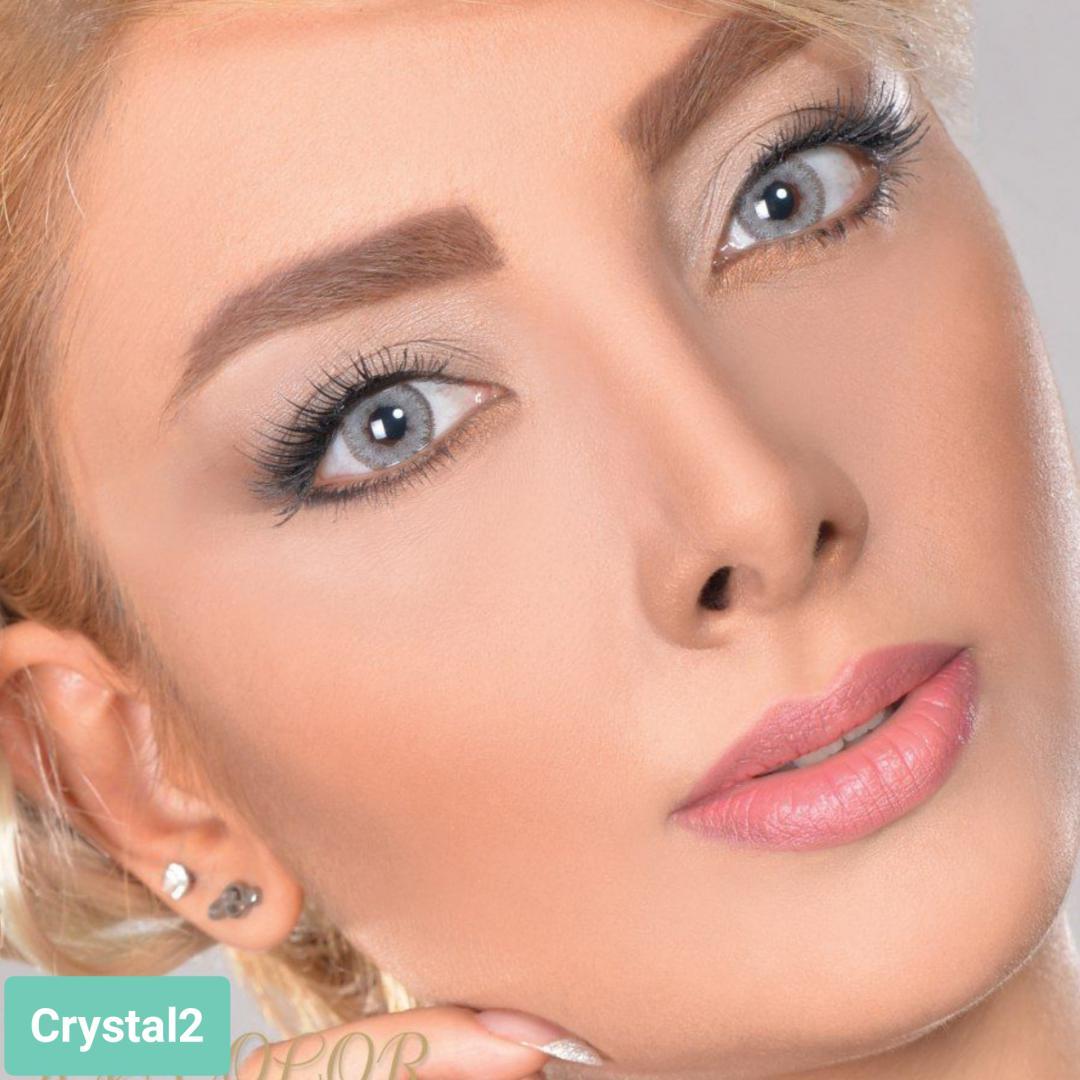 فروش لنز Crystal 2 (طوسی)  برند آیسکالر بهمراه قیمت امروز لنز رنگی و قیمت امروز لنز طبی