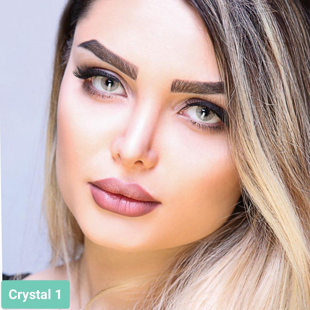 فروش لنز Crystal 1 (زیتونی)  برند آیسکالر بهمراه قیمت امروز لنز رنگی و قیمت امروز لنز طبی