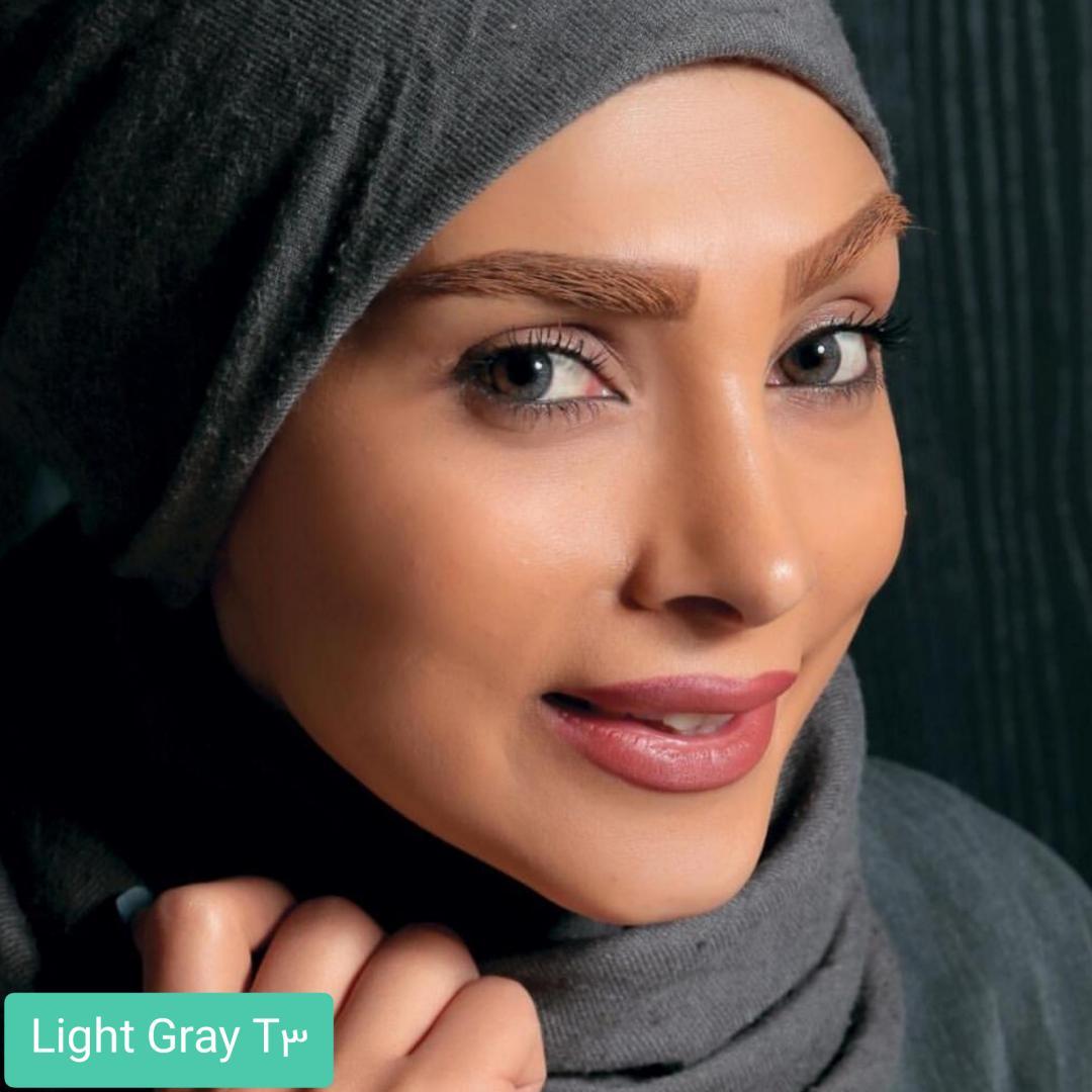 فروش لنز Light Gray T3(طوسی عسلی) برند الگانس بهمراه قیمت امروز لنز رنگی و قیمت امروز لنز طبی