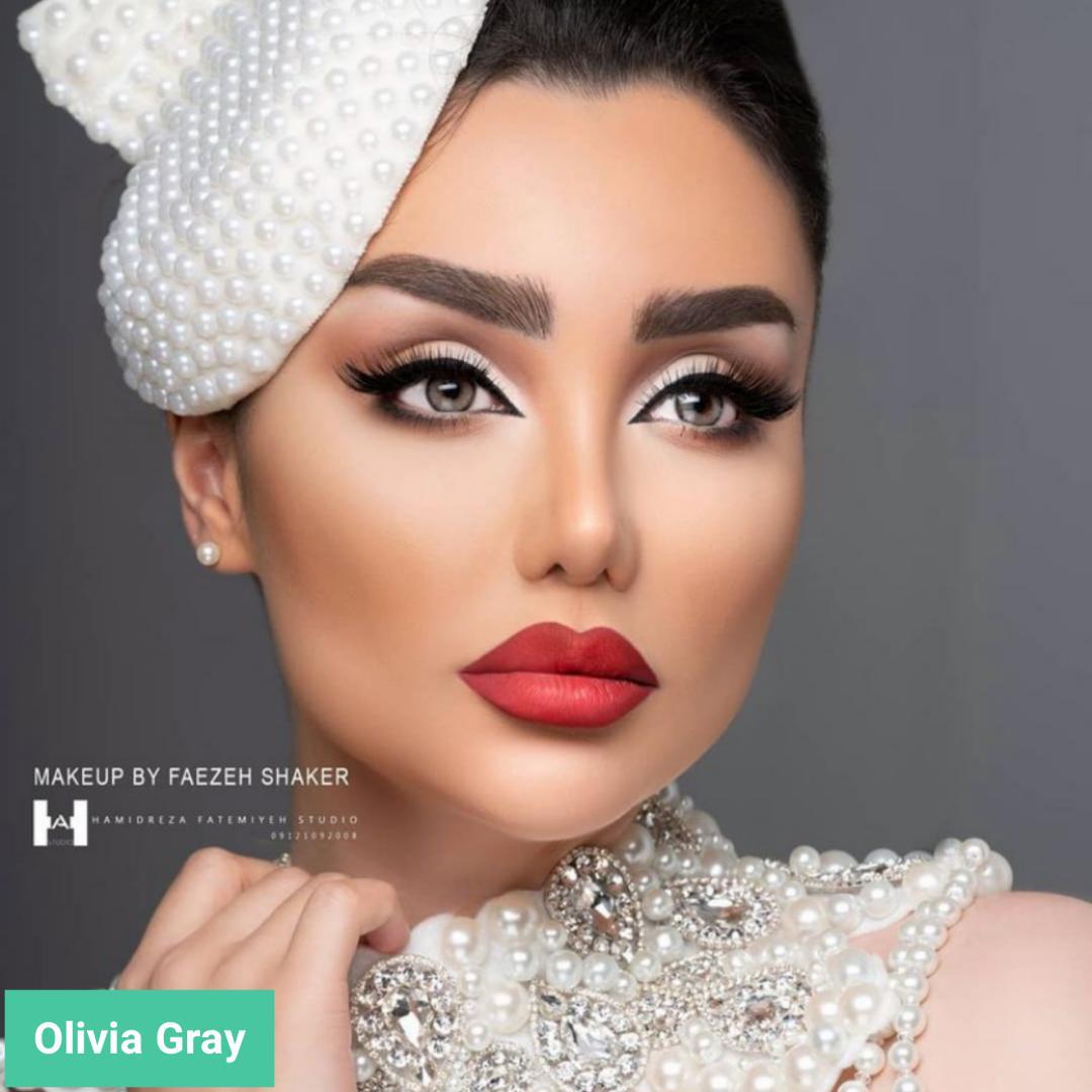 فروش لنز olivia gray (طوسی دوردار) برند مینی آوا بهمراه قیمت امروز لنز رنگی  و قیمت امروز لنز طبی