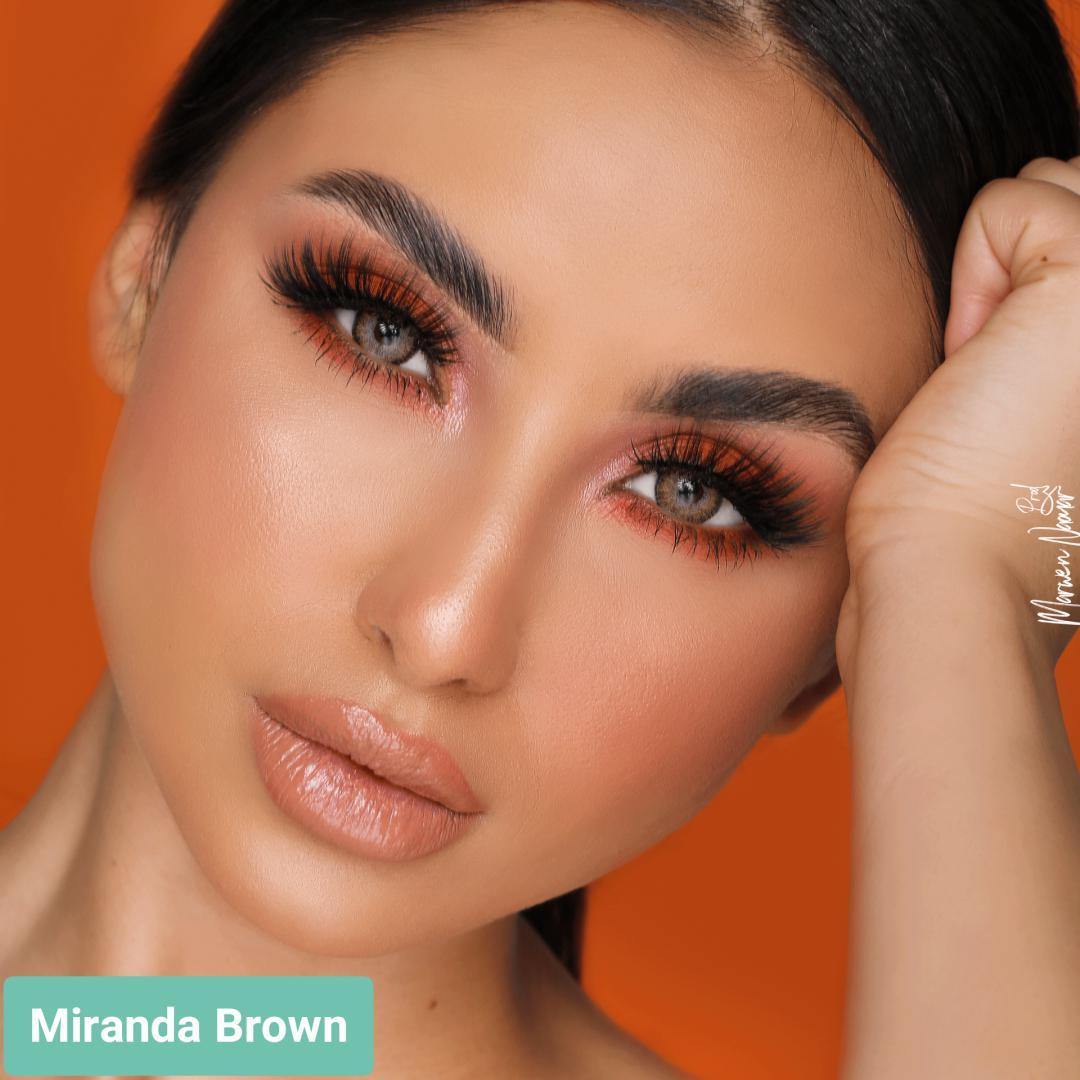 فروش لنز Miranda Brown (عسلی خاکی دوردار)  برند هیپنوس بهمراه قیمت امروز لنز رنگی  و قیمت امروز لنز طبی