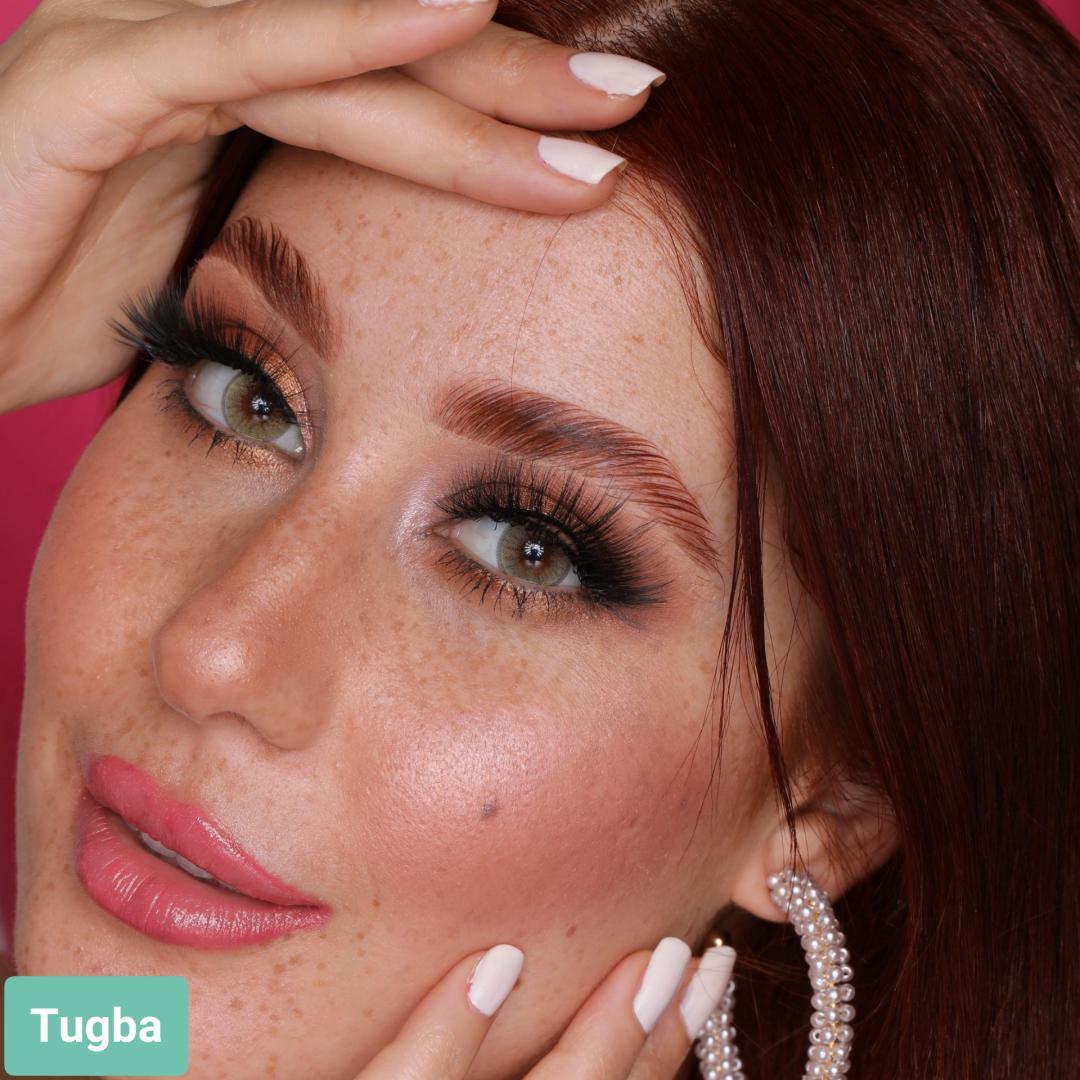 فروش لنز Tugba (عسلی خاکی دوردار)  برند هیپنوس بهمراه قیمت امروز لنز رنگی  و قیمت امروز لنز طبی