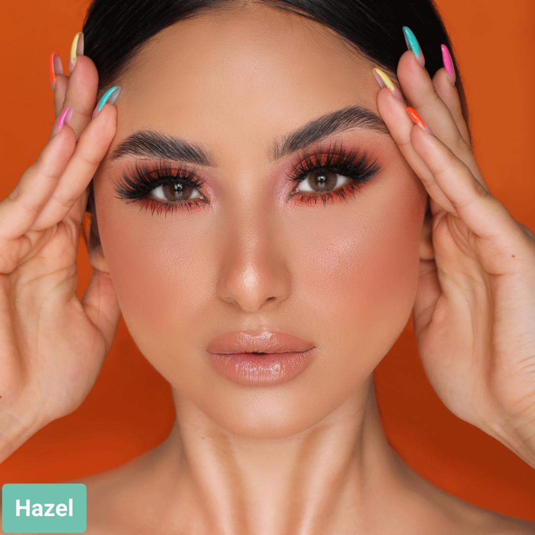 فروش لنز Hazel (عسلی دوردار)  برند هیپنوس بهمراه قیمت امروز لنز رنگی  و قیمت امروز لنز طبی