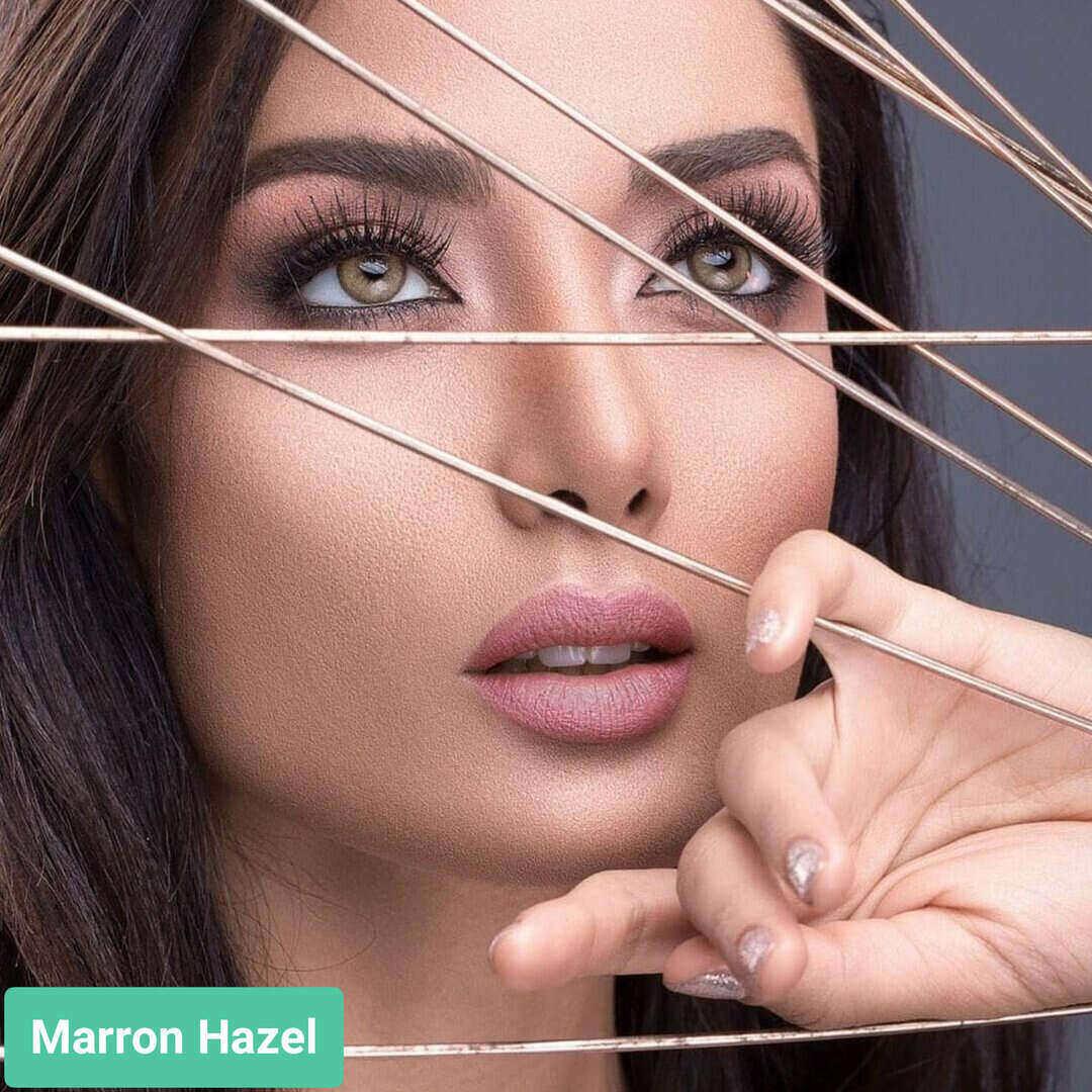 فروش لنز Marron Hazel (عسلی دوردار)  برند ویکتوریا بهمراه قیمت امروز لنز رنگی  و قیمت امروز لنز طبی
