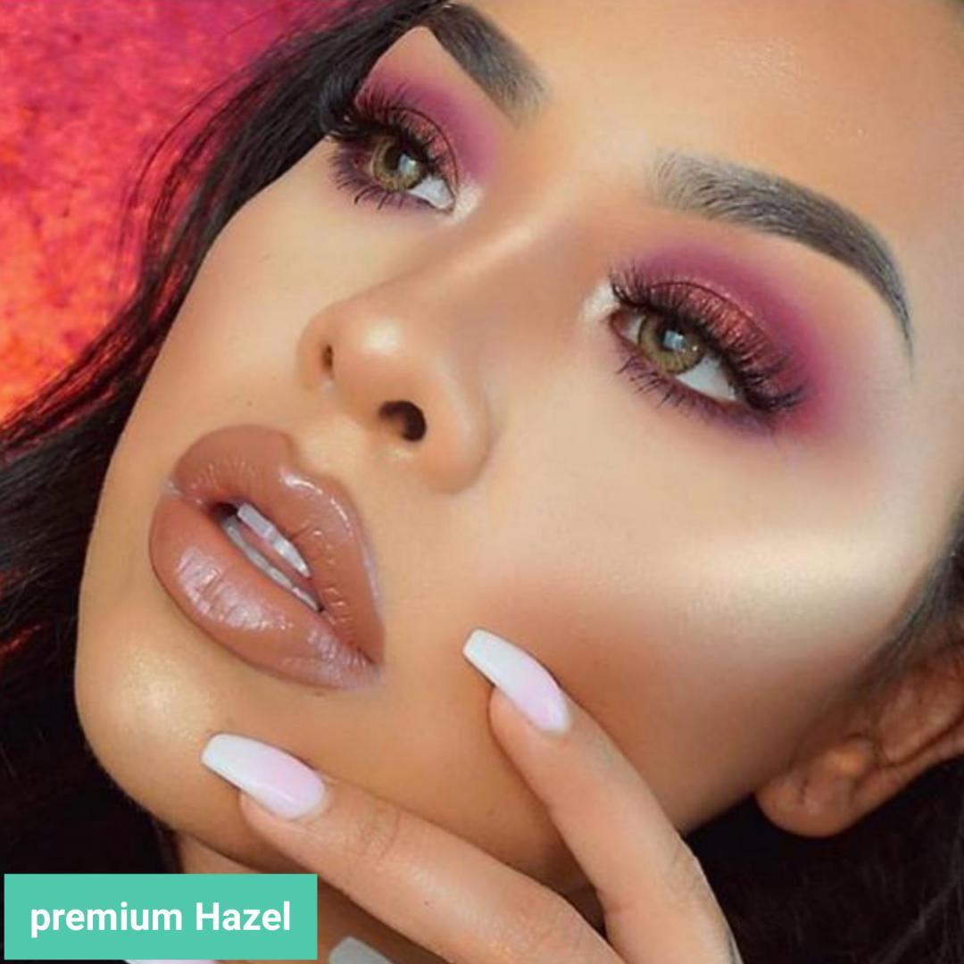 فروش لنزPremium Hazel (عسلی خاکی دوردار)  برند فرشتن بهمراه قیمت امروز لنز رنگی  و قیمت امروز لنز طبی