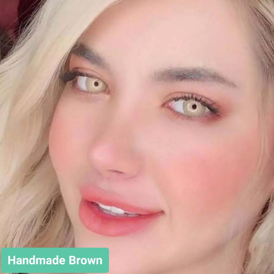 فروش لنز Handmade Brown (شامپاینی کهربایی)  برند ترسا لاکچری بهمراه قیمت امروز لنز رنگی  و قیمت امروز لنز طبی