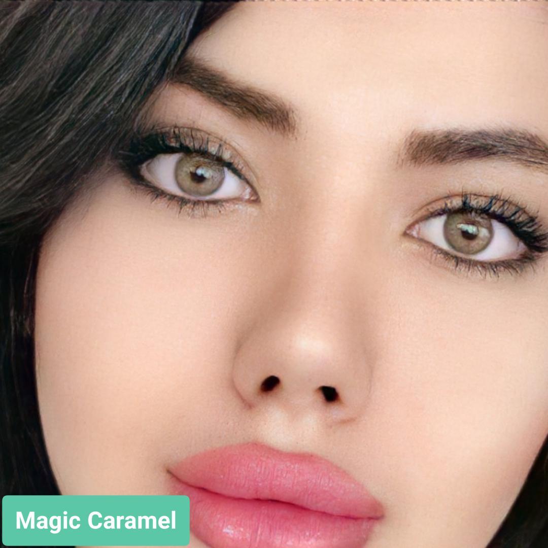 فروش لنز Magic Caramel (کاراملی بدون دور)  برند ترسا لاکچری بهمراه قیمت امروز لنز رنگی  و قیمت امروز لنز طبی