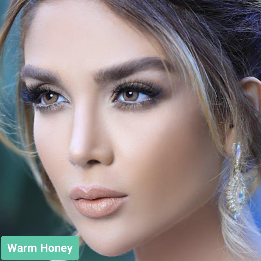 فروش لنز Warm Honey (عسلی دوردار)  برند استلاکالرز بهمراه قیمت امروز لنز رنگی  و قیمت امروز لنز طبی