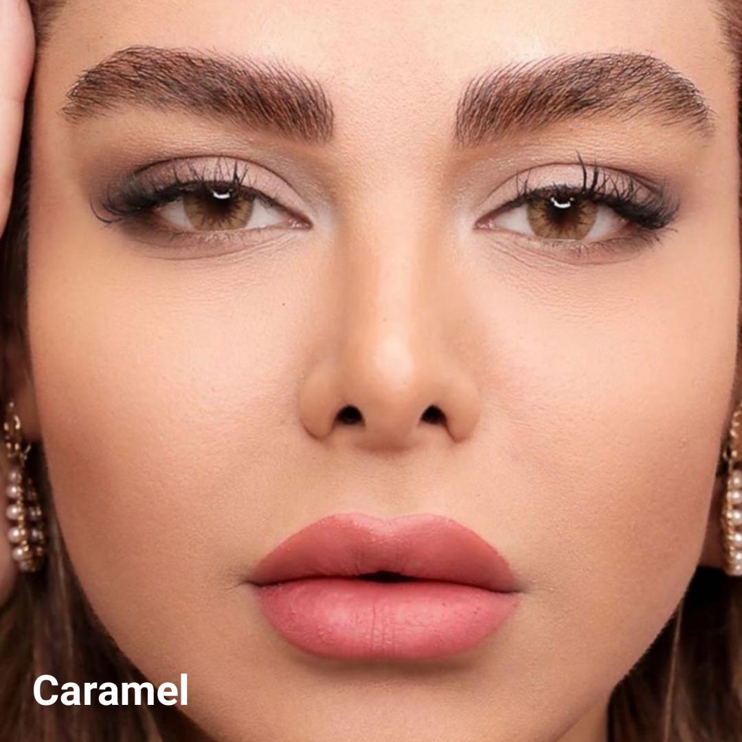 فروش لنزCaramel (عسلی کاراملی دورمحو)  برند ایلوژن بهمراه قیمت امروز لنز رنگی  و قیمت امروز لنز طبی