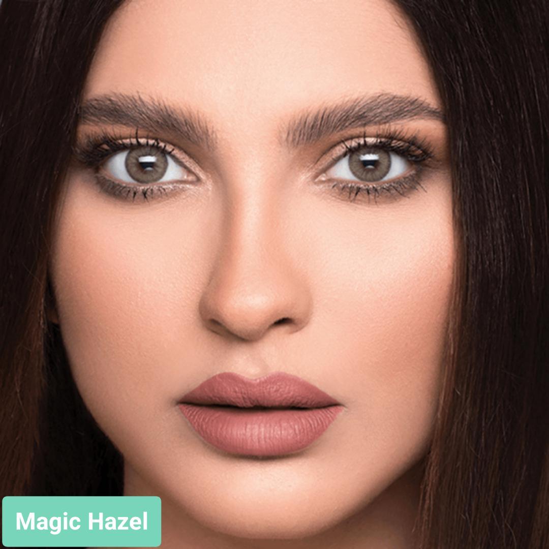 فروش لنز Magic Hazel (عسلی ته مایه سبز دورمحو)  برند لازرد بهمراه قیمت امروز لنز رنگی  و قیمت امروز لنز طبی