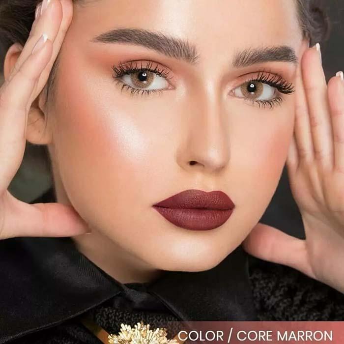 فروش لنز Core Marron (عسلی ته مایه نارنجی بدون دور)  برند نچرال بهمراه قیمت امروز لنز رنگی  و قیمت امروز لنز طبی