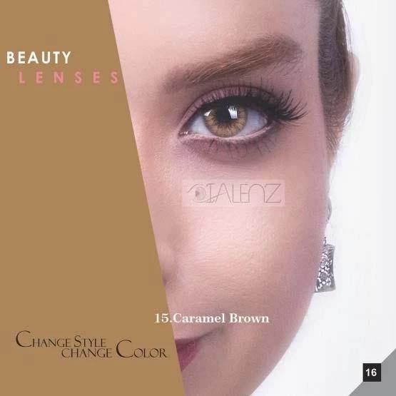 فروش لنز Caramel Brown (عسلی دوردار)  برند رویال ویژن بهمراه قیمت امروز لنز رنگی و قیمت امروز لنز طبی