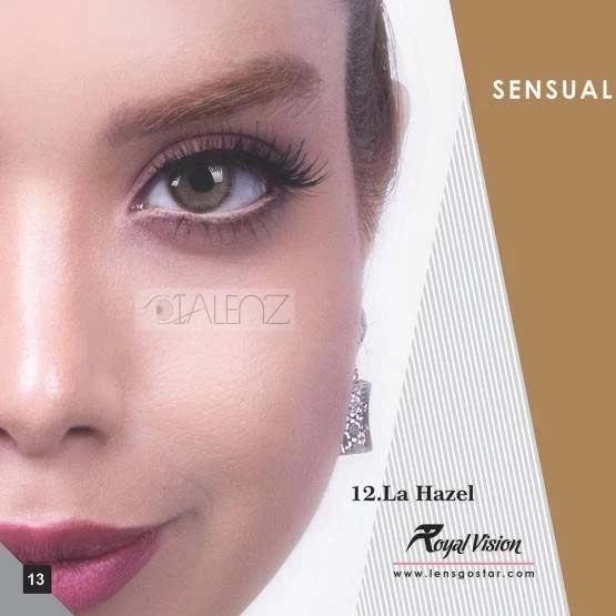 فروش لنز La Hazel (عسلی دوردار)  برند رویال ویژن بهمراه قیمت امروز لنز رنگی و قیمت امروز لنز طبی