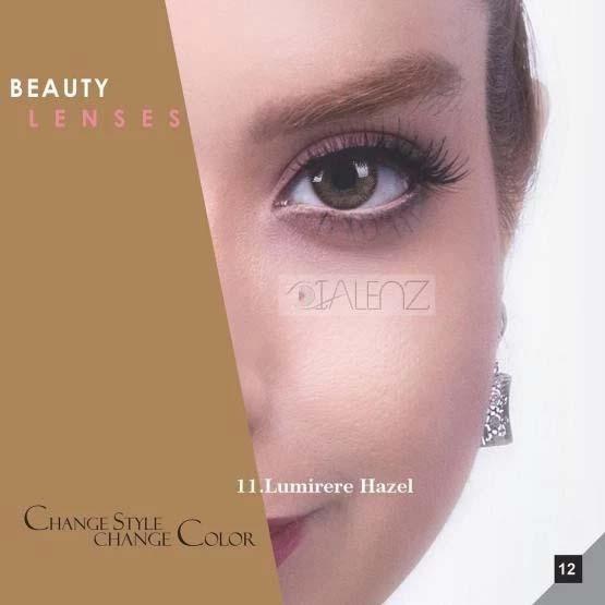 فروش لنز Lumirere Hazel (عسلی دوردار)  برند رویال ویژن بهمراه قیمت امروز لنز رنگی و قیمت امروز لنز طبی