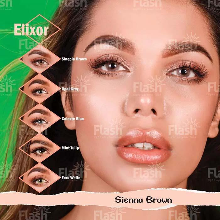 فروش لنز Sienna Brown (خاکی بدون دور)  برند فلش  بهمراه قیمت امروز لنز رنگی و قیمت امروز لنز طبی