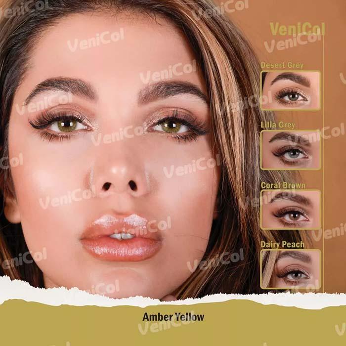 فروش لنز Amber Yellow (عسلی دورمحو)  برند فلش  بهمراه قیمت امروز لنز رنگی و قیمت امروز لنز طبی