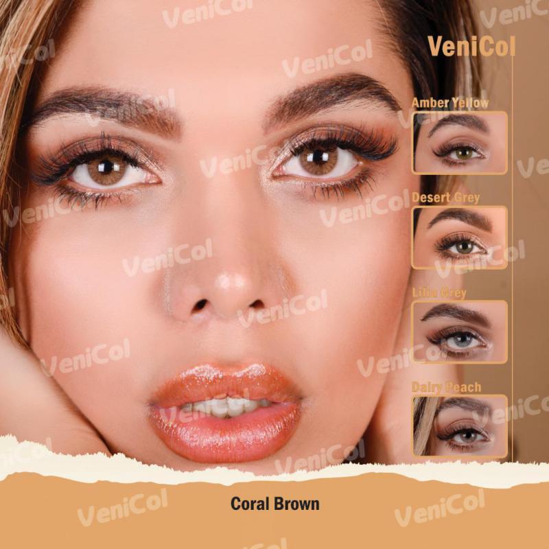 فروش لنز Coral Brown (عسلی دورمحو)  برند فلش  بهمراه قیمت امروز لنز رنگی و قیمت امروز لنز طبی