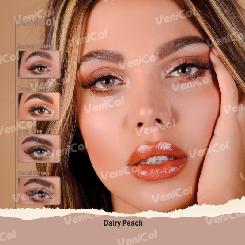فروش لنز Dairy Peach (کاراملی دورمحو)  برند فلش  بهمراه قیمت امروز لنز رنگی و قیمت امروز لنز طبی