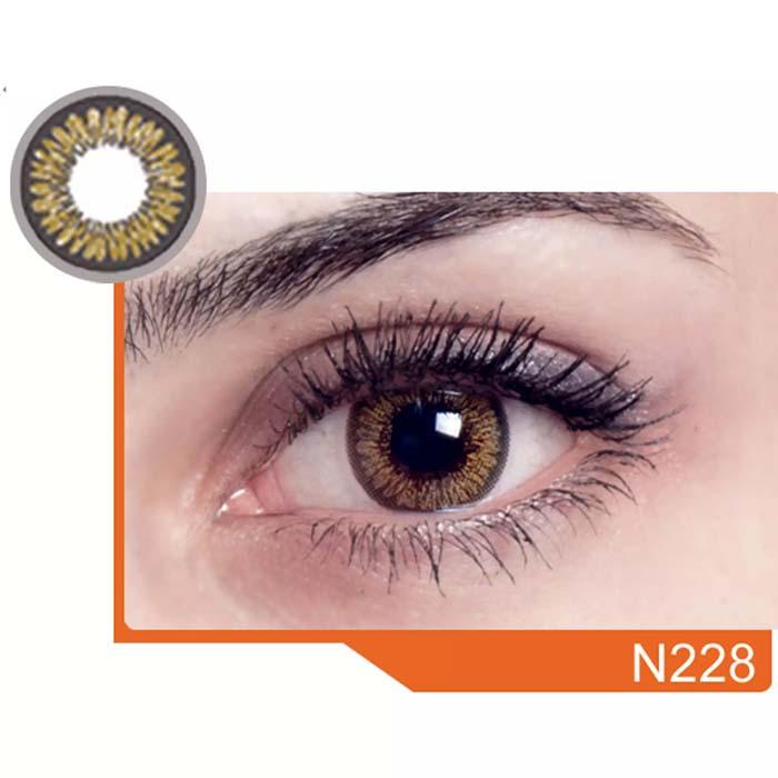 فروش لنز N 228 (عسلی دوردار)  بهمراه قیمت امروز لنز رنگی  و قیمت امروز لنز طبی