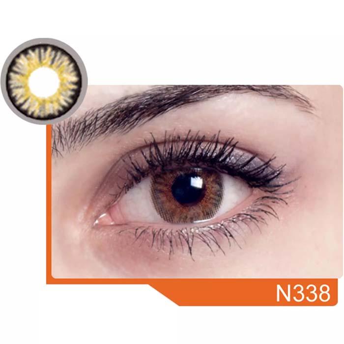 فروش لنز N 338 (عسلی دوردار)  بهمراه قیمت امروز لنز رنگی  و قیمت امروز لنز طبی