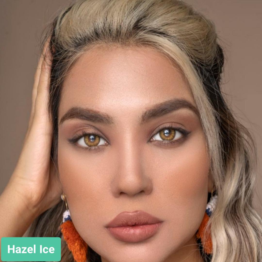 فروش لنز Hazel Ice (عسلی یخی)  بهمراه قیمت امروز لنز طبی و قیمت امروز لنز رنگی