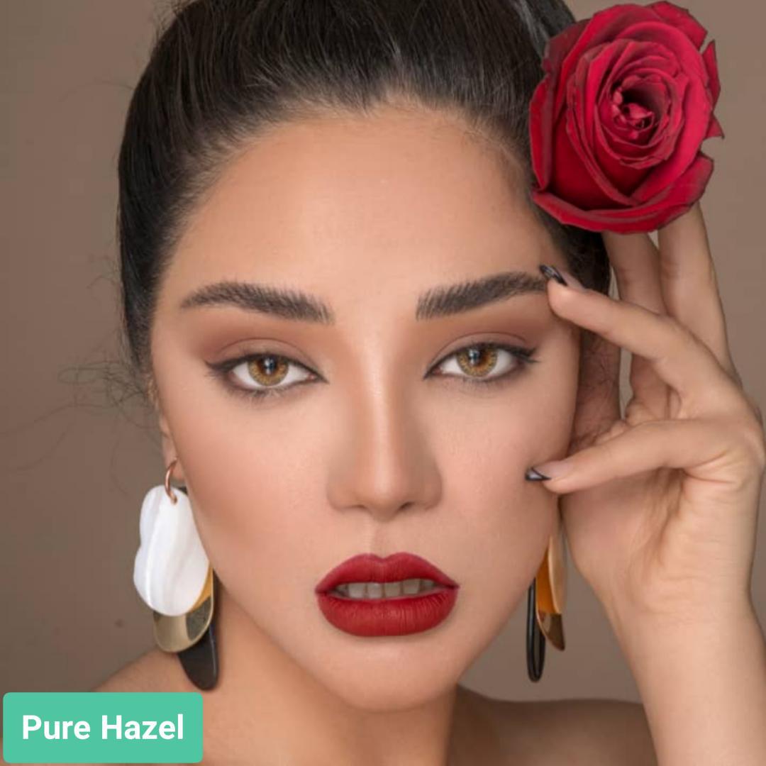 فروش لنز  Pure Hazel (زیتونی)  بهمراه قیمت امروز لنز طبی و قیمت امروز لنز رنگی