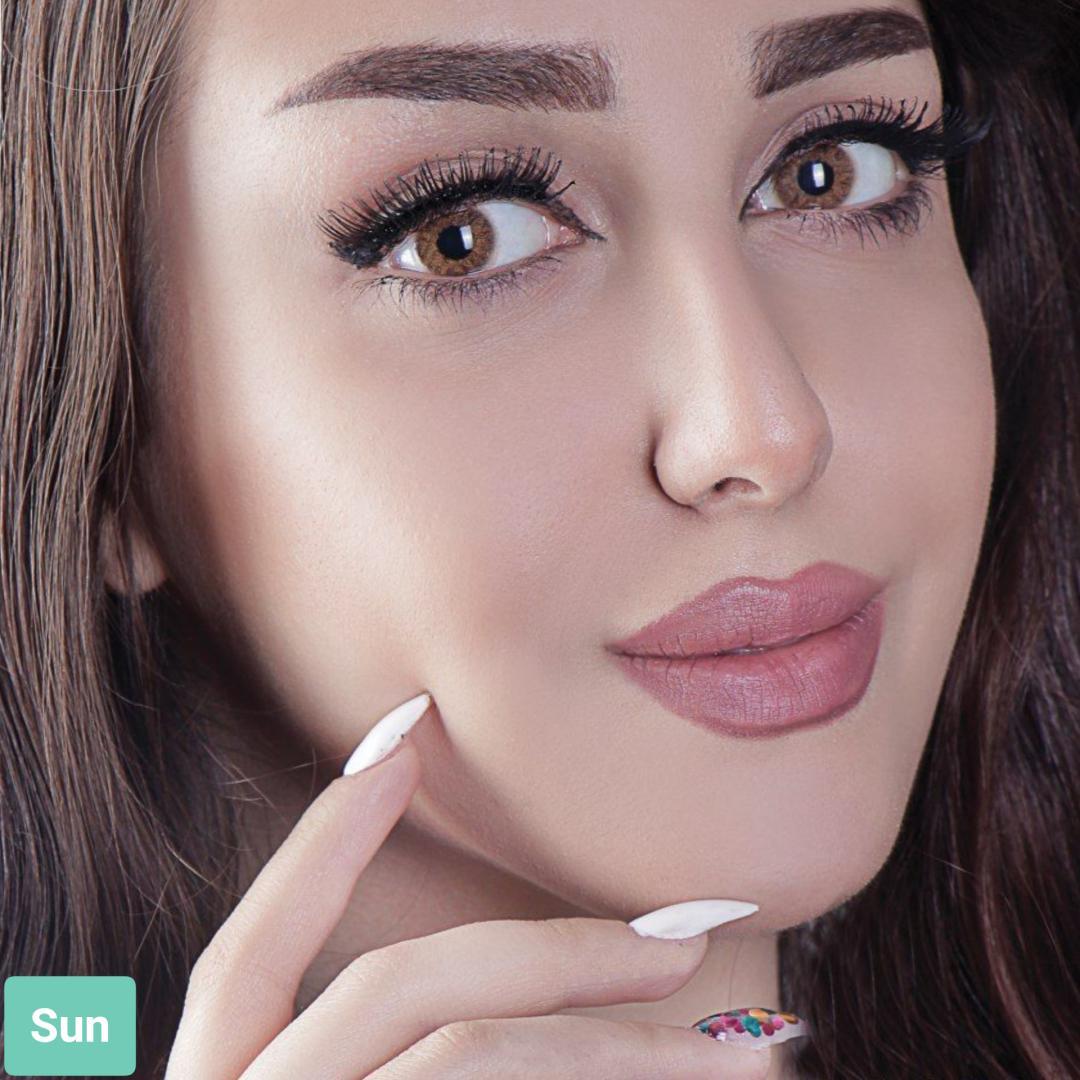 فروش لنز Sun (عسلی)  برند آیسکالر بهمراه قیمت امروز لنز رنگی و قیمت امروز لنز طبی