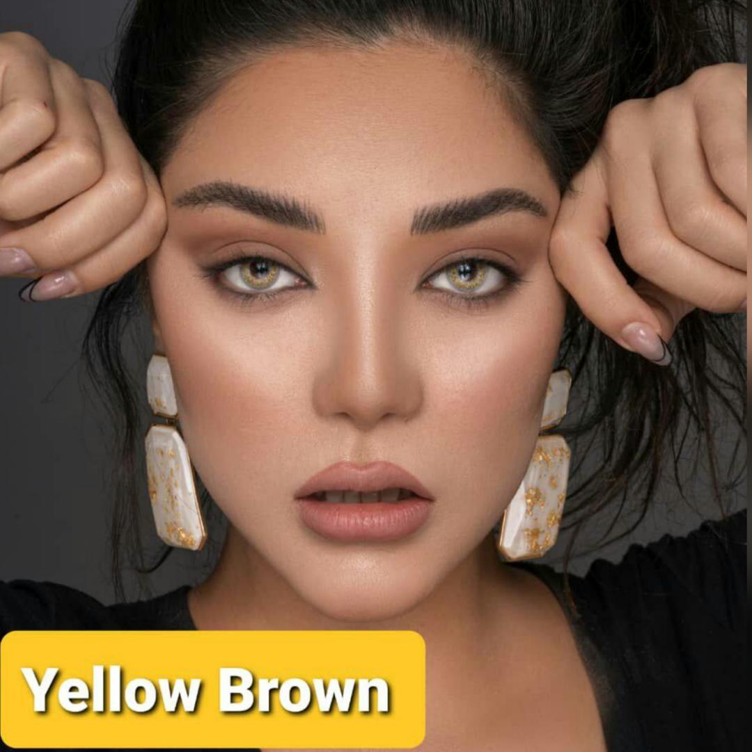 فروش لنز Yellow Brown (طلایی)  برند پلی ویو بهمراه قیمت امروز لنز رنگی و قیمت امروز لنز طبی