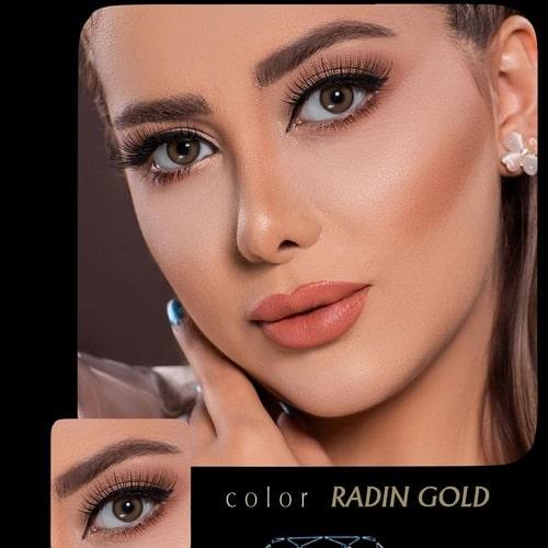 Radin Gold(عسلی طلایی دوردار) برند آیسکالر به همراه قیمت امروز لنز طبی و قیمت امروز لنز رنگی