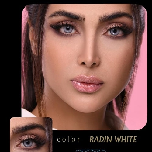 Radin White(طوسی آبی دوردار) برند آیسکالر به همراه قیمت امروز لنز طبی و قیمت امروز لنز رنگی