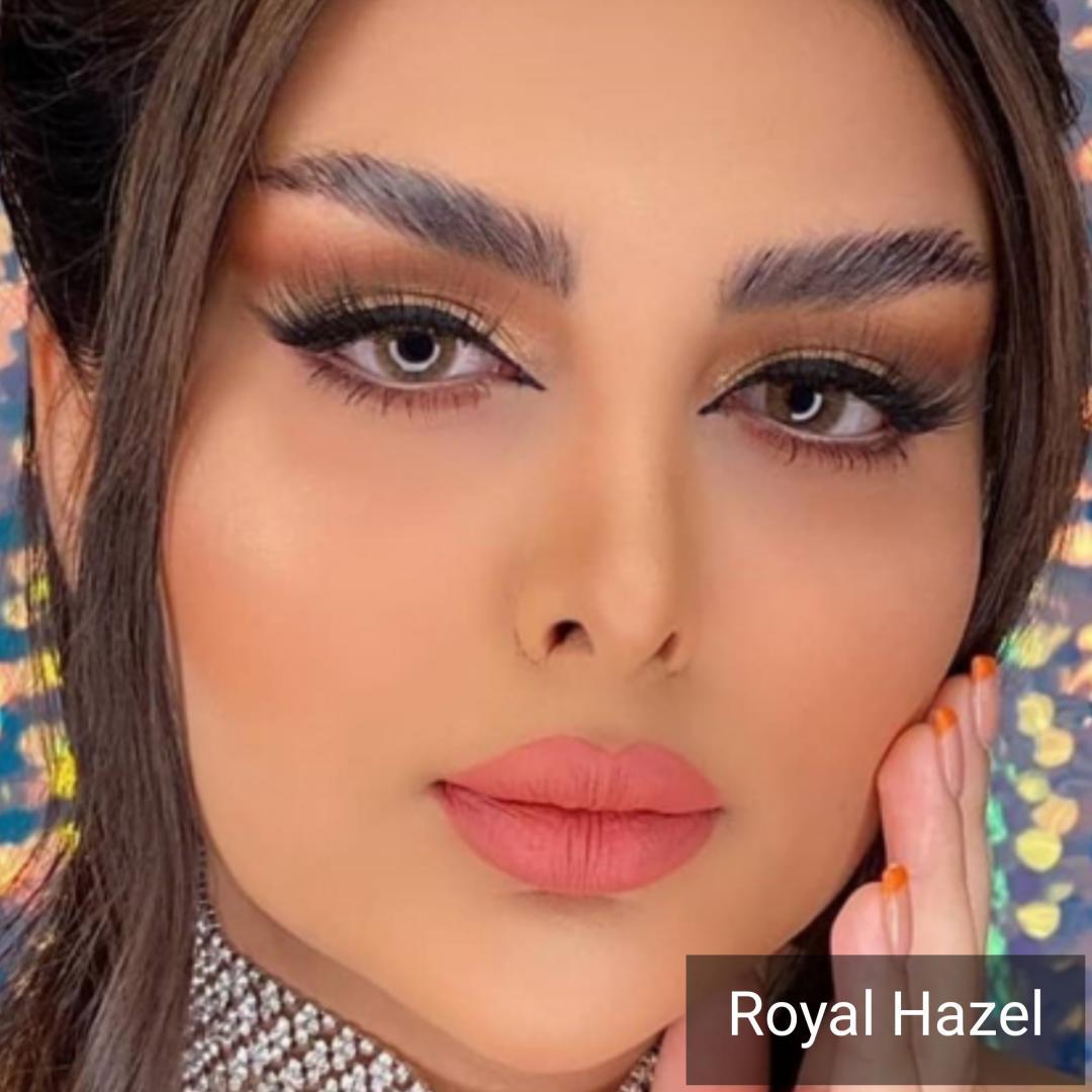 فروش لنز Royal Hazel (عسلی خاکی بدون دور) برند دیاموند بهمراه قیمت امروز لنز رنگی و قیمت امروز لنز طبی