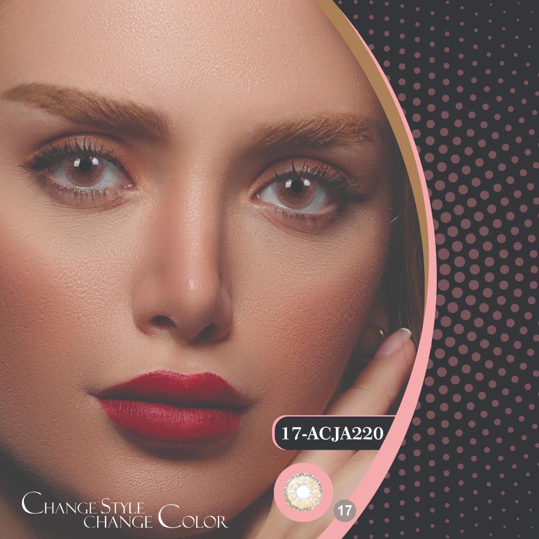 فروشACJA220(کاراملی دوردار)برند هرا رنگی بهمراه قیمت امروز لنز رنگی و قیمت امروز لنز طبی