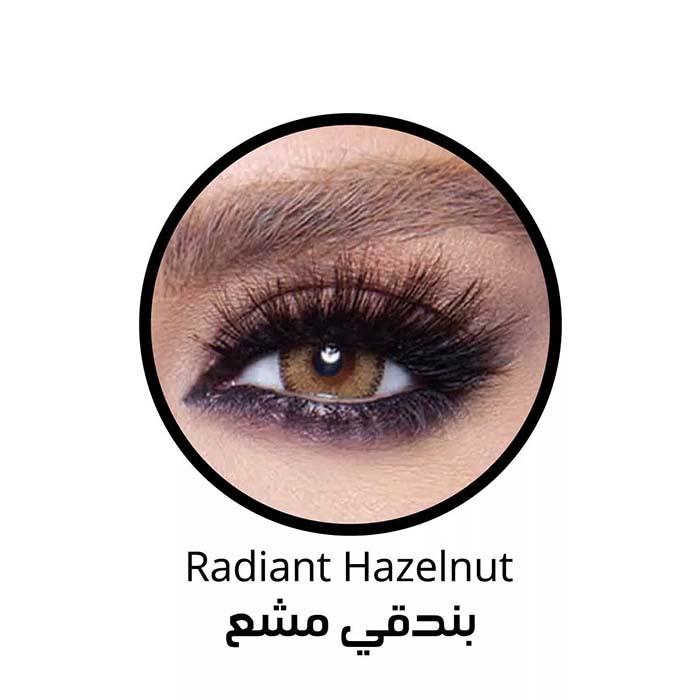 فروش لنزRadiant Hazelnut (عسلی دوردار) برند بلا  بهمراه قیمت امروز لنز رنگی  و قیمت امروز لنز طبی
