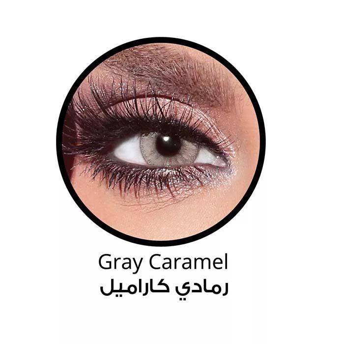 فروش لنزGray Caramel (کاراملی طوسی دوردار)  برند بلا  بهمراه قیمت امروز لنز رنگی  و قیمت امروز لنز طبی